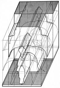 'Kub' axonometrisk ritning,1967.