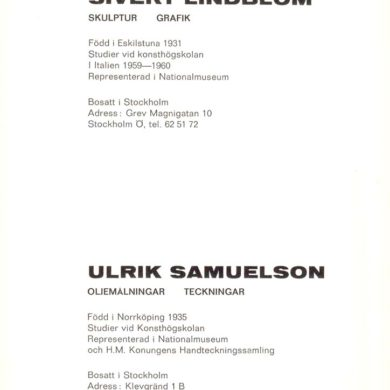 Första utställning Norrköpings Museum 1962 tillsammans med Ulrik Samuelson