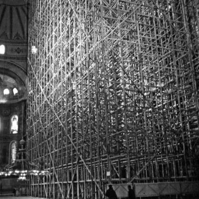 Byggställning för restaureringen i Hagia Sofia moskén, Istanbul